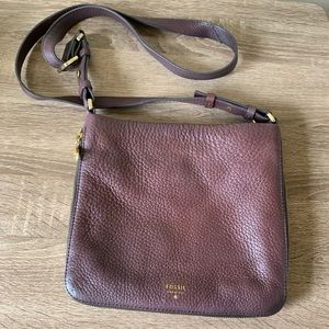 Fossil Leather Maroon Crossbody Zipper Accent Bag